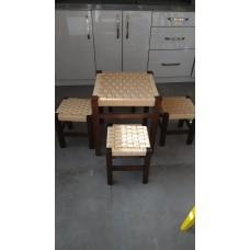 Ahşap hasır masa tabure
