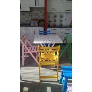 Ahşap Katlanır Masa Sandalye